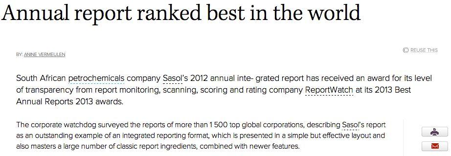 Media - Best annual reports - e.com ReportWatch
