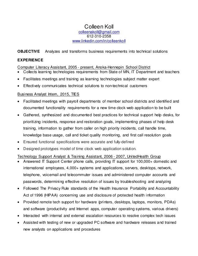 Colleen Koll Business Analyst resume