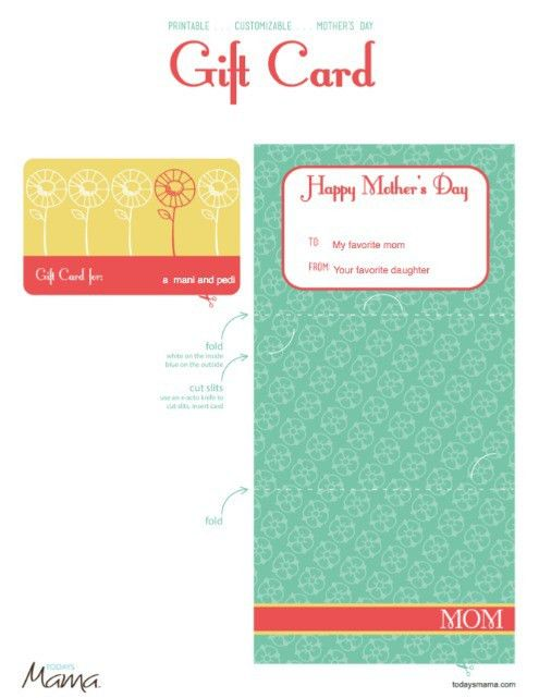 Printable Mother's Day Gift Card Template - TodaysMama