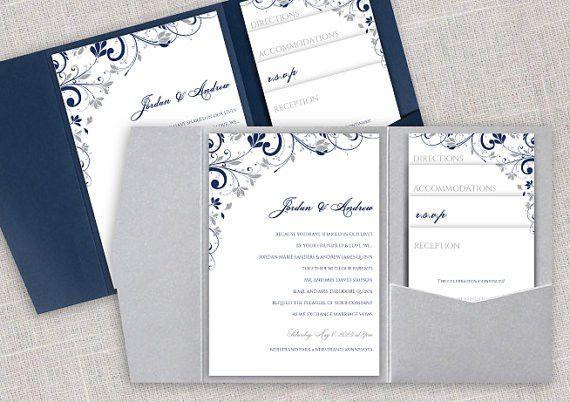Pocket Wedding Invitation Template Set - Instant DOWNLOAD ...