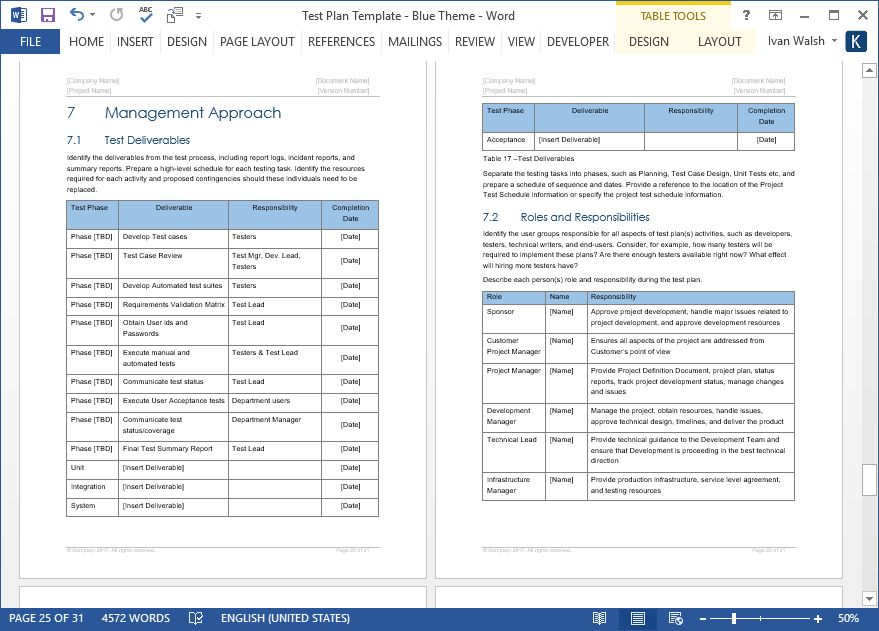 Test Plan - Download MS Word & Excel Template