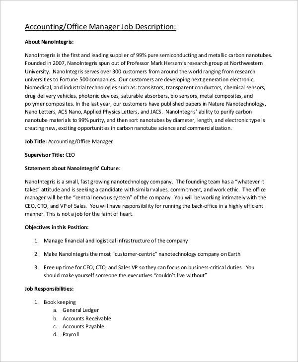 Captivating Sample Accounting Manager Job Description   10+ Examples In Word, PDF