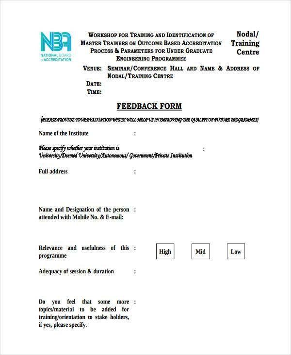 8+ Seminar Feedback Form Sample - Free Sample, Example Format Download