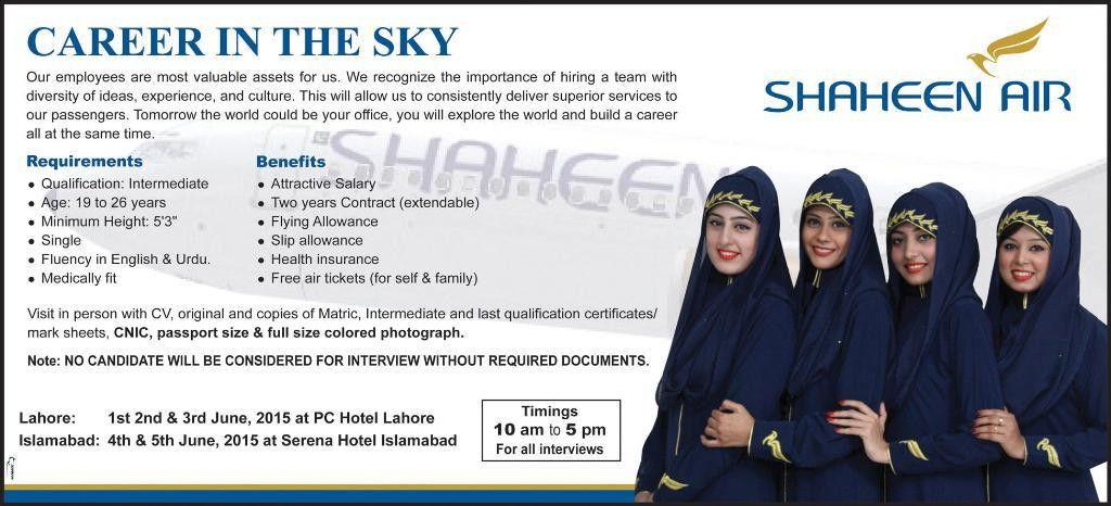 Shaheen Airline Air Hostess Jobs 2016
