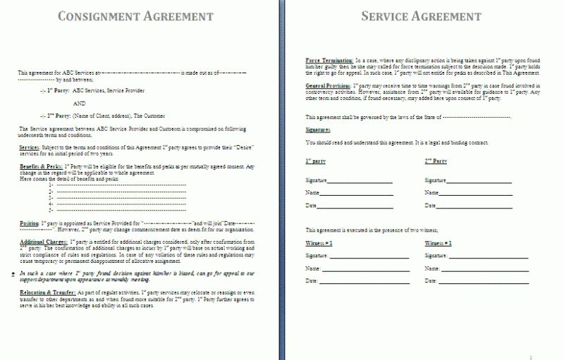 Consignment Agreement Template | Free Agreement Templates  Free Consignment Agreement