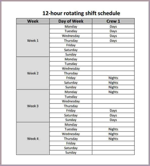 Dupont Schedule.Printable 12 Hour Rotating Shift Schedule Template ...