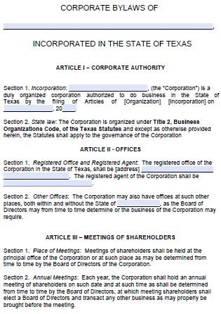 Free Texas Corporate Bylaws Template | PDF | Word |