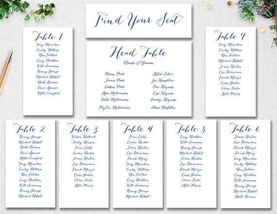 Printable Seating Chart Wedding | Printable Maps