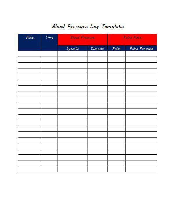 30+ Printable Blood Pressure Log Templates - Template Lab
