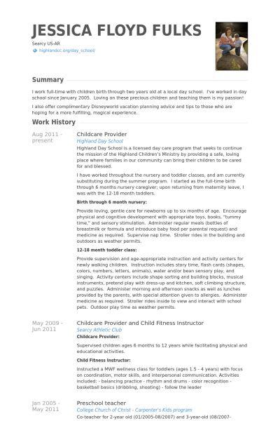 Childcare Provider Resume samples - VisualCV resume samples database