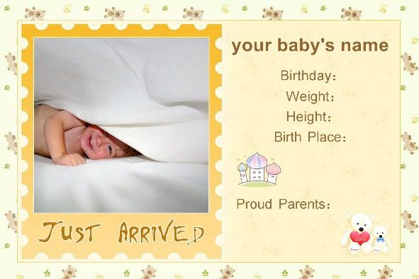 Free photo templates - Baby Birth Announcement