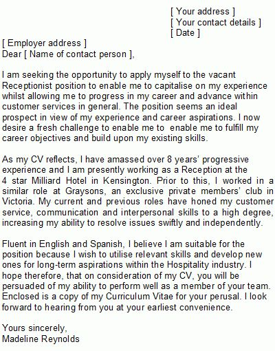 Receptionist Covering Letter Sample