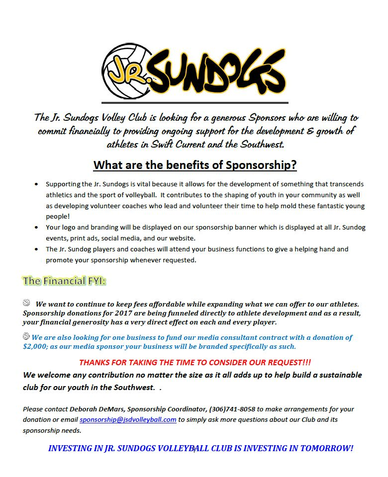 Sponsorship « Junior SunDogs Volleyball Club