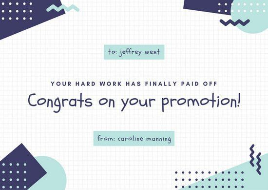 Dark Blue and Aqua Grid Congratulations Card - Templates by Canva