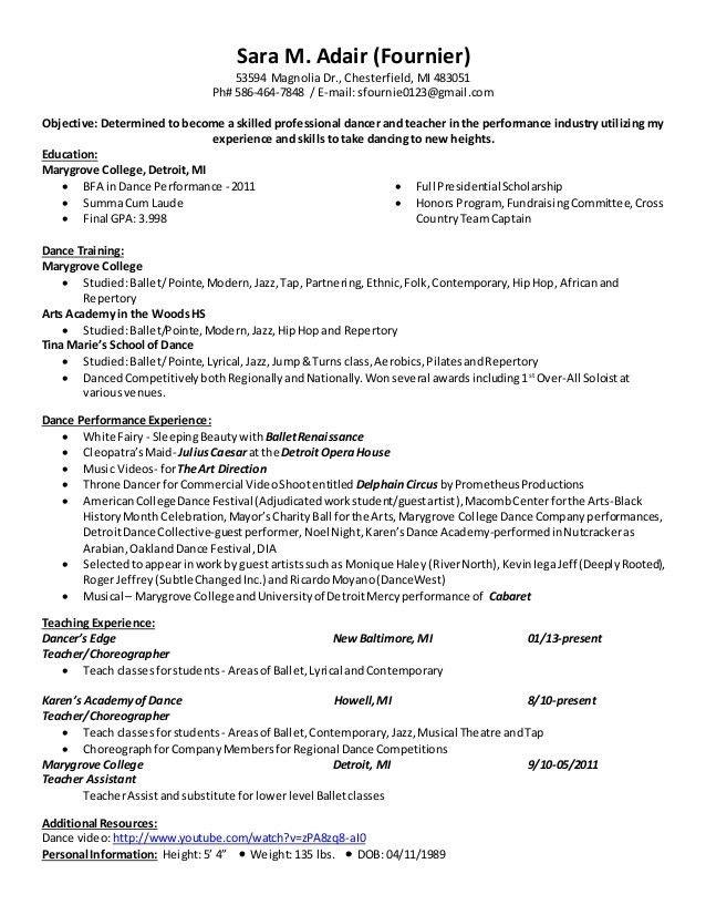 ballet dancer resume download dance resume