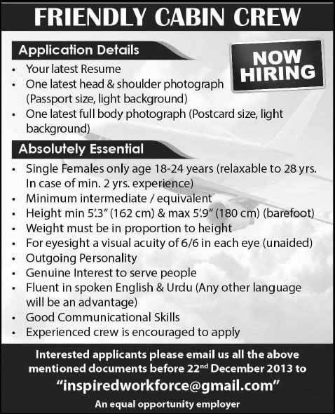 Air Hostess Jobs in Pakistan December 2013 Latest Advertisement in ...