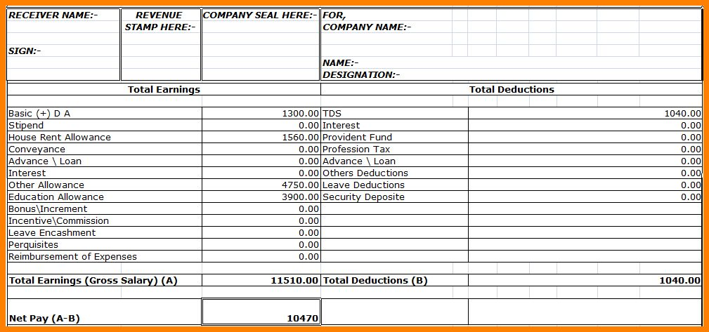 4+ employee salary slip format pdf - mail clerked