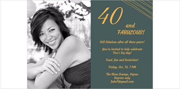 21+ 40th Birthday Invitation Templates – Free Sample, Example ...