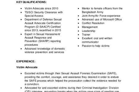 Victim Advocate Resume - Reentrycorps