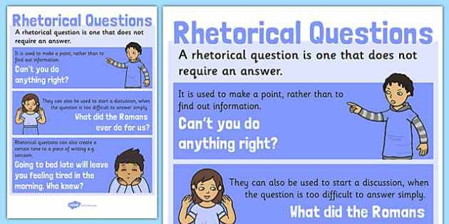 Rhetorical Questions Poster - english, literacy, grammar