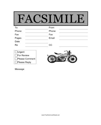 Motorcycle Fax Cover Sheet at FreeFaxCoverSheets.net