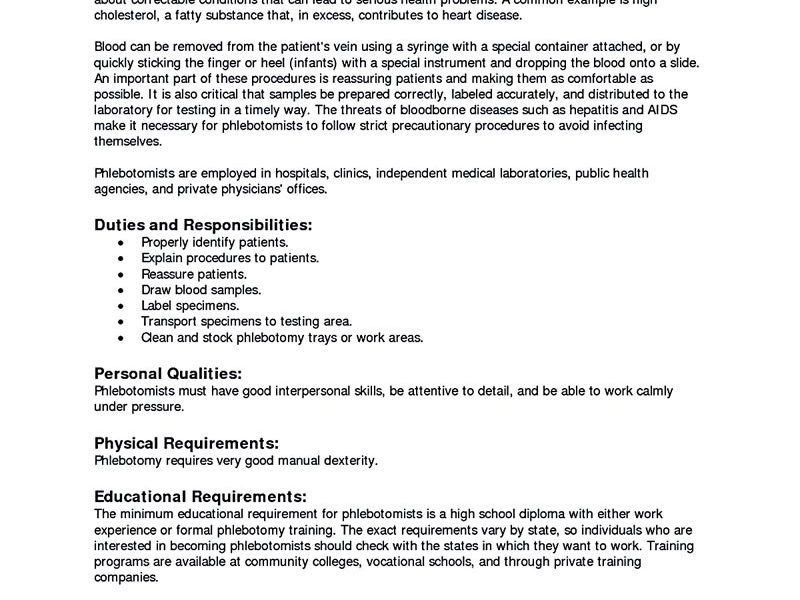 trendy ideas phlebotomist resume 13 phlebotomy phlebotomy includes