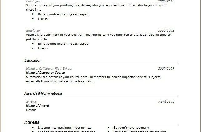 short resume examples