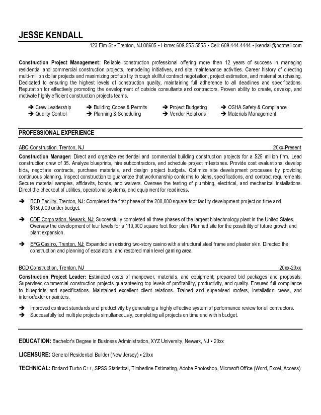 sample construction resume template professional construction