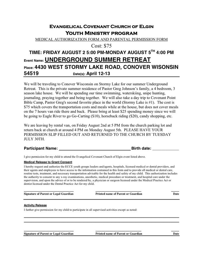 Permission Slip Template In Word And Pdf Formats  Permission Slip Template Word