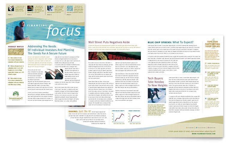 Investment Management Newsletter Template - Word & Publisher