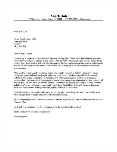 Photography Cover Letter. Cover Letter & Resume Cover Letter ...