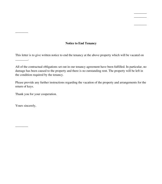 Tenant's Letter Giving Notice to End Tenancy - Template