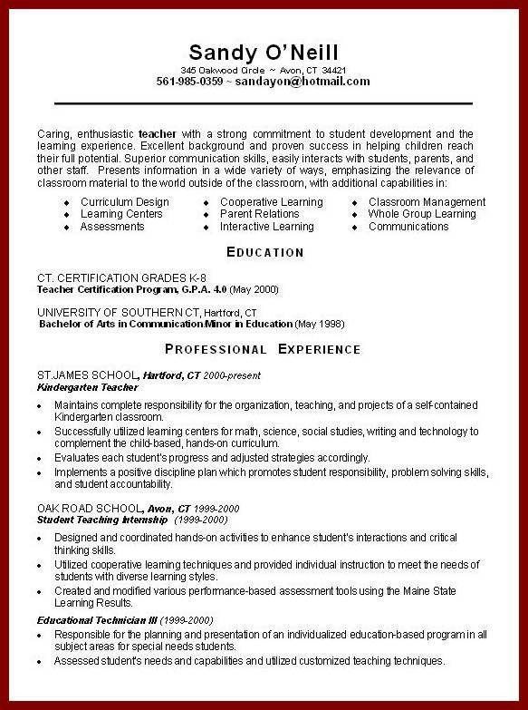13 Sample Resume for Teaching Job | sendletters.info