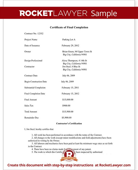 Certificate of Final Completion Form - For Construction Project