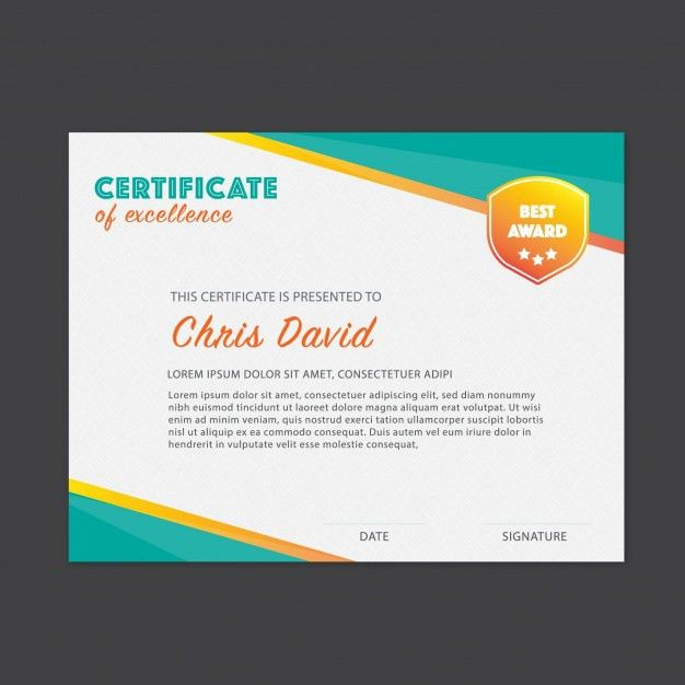Certificate of excellence template Vector | Free Download