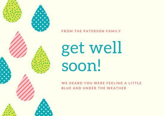 Colorful Illustrated Raindrops Get Well Soon Card - Templates by Canva