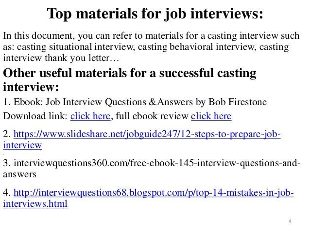 88 casting interview questions and answers