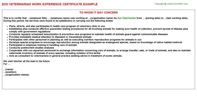 Zoo Veterinarian Work Experience Certificate