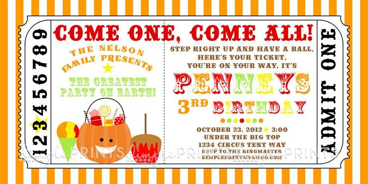 Fall Carnival Printable Ticket Invitation - Dimple Prints Shop