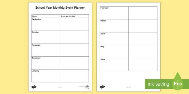 School Yearly Monthly Events Planning Template - overview