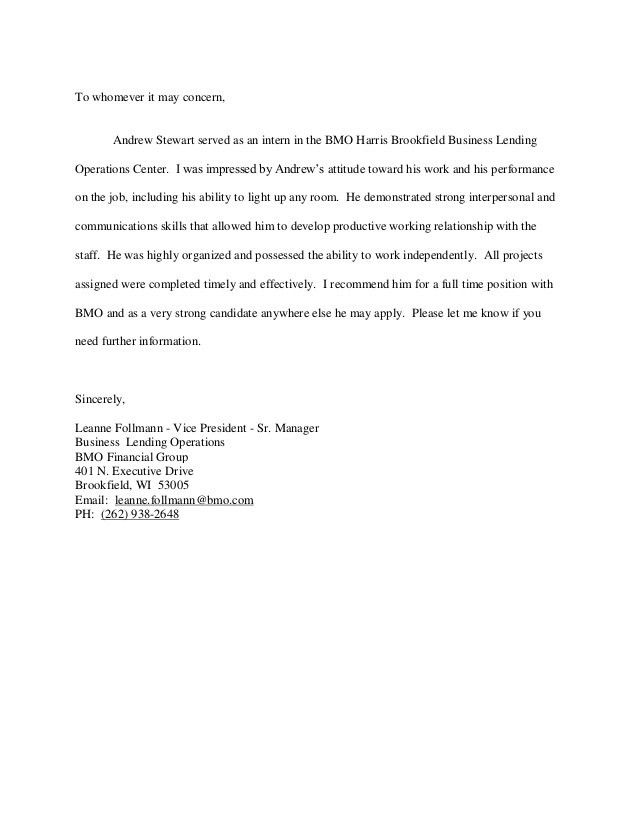 BMO Financial Group Internship Letter of Recommendation