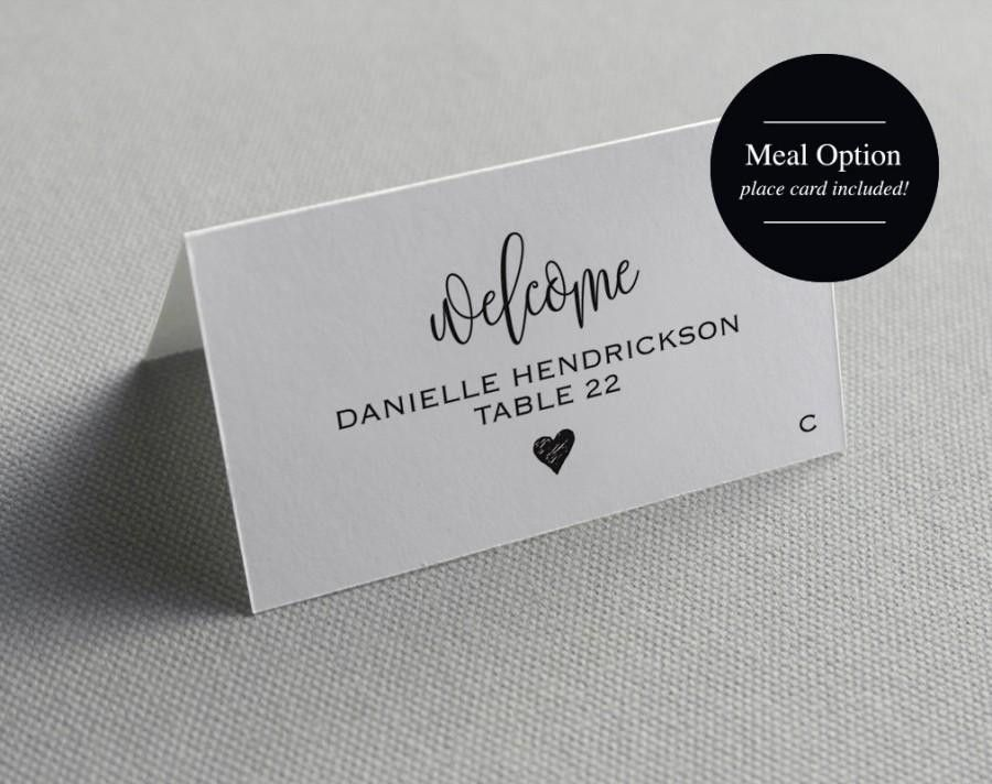 Place Card Template, Printable Template, Wedding Place Cards ...