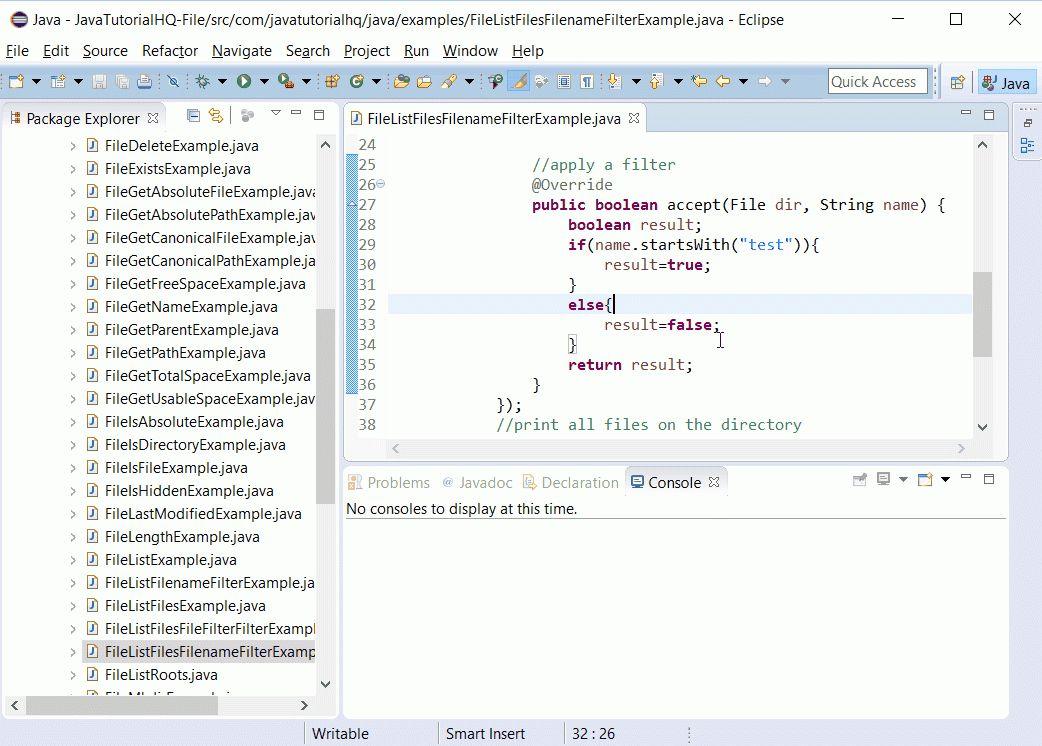 Java File listFiles(FilenameFilter filter) method example