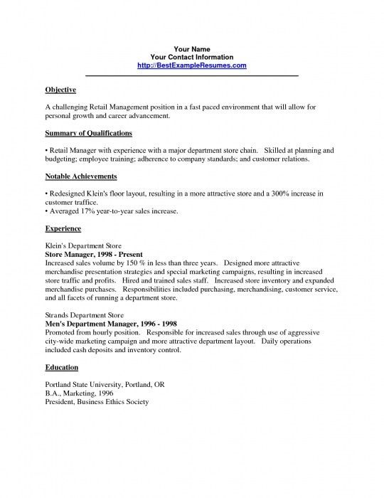 Brilliant Retail Manager Resume Objective | Resume Format Web