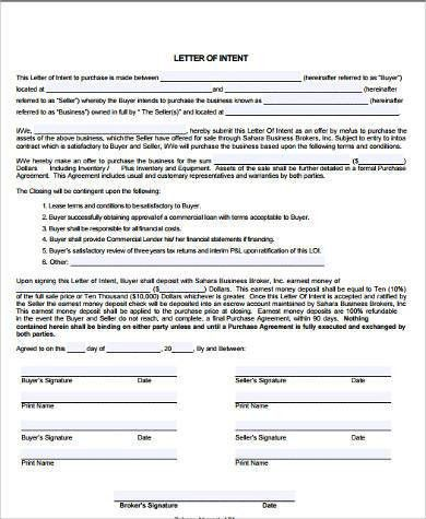 Sample Letter of Intent Format - 9+ Examples in Word, PDF