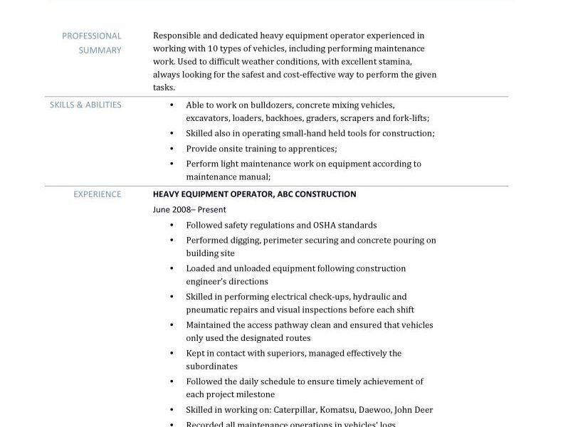 Resume For Heavy Equipment Operator [Template.billybullock.us ]