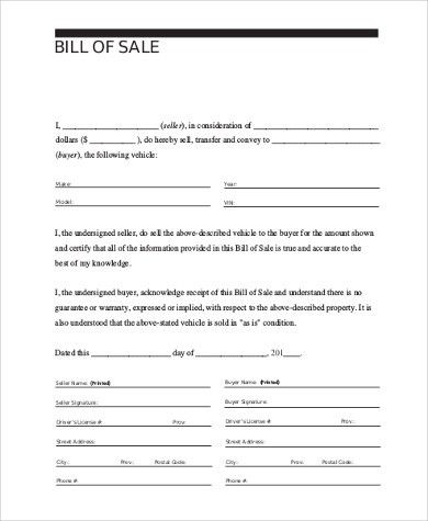 Auto Bill of Sale Form Sample - 9+ Free Documents in PDF