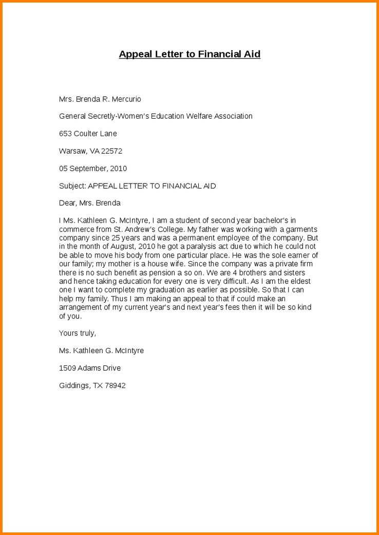 7+ financial aid appeal letter sample | quote templates