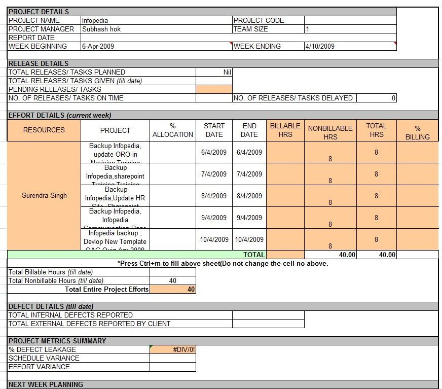 Weekly Report Format In Excel - Resume Templates