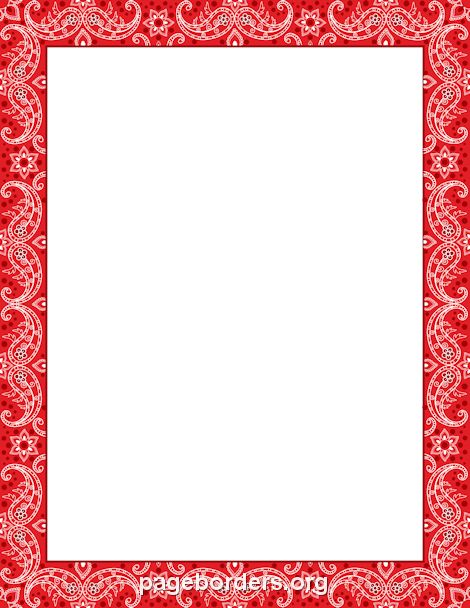 Printable red bandana border. Use the border in Microsoft Word or ...